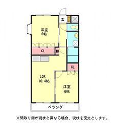 愛知県一宮市大和町毛受字西屋敷の賃貸アパートの間取り