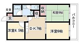 愛知県名古屋市南区寺崎町の賃貸マンションの間取り
