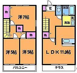[テラスハウス] 東京都府中市是政1丁目 の賃貸【/】の間取り