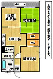 福岡県北九州市小倉北区上富野5丁目の賃貸マンションの間取り