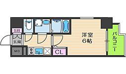 エスリード大阪ドームCERCA 4階1Kの間取り