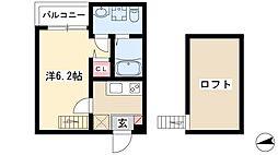 pavillon honnete biwajima 1階1Kの間取り