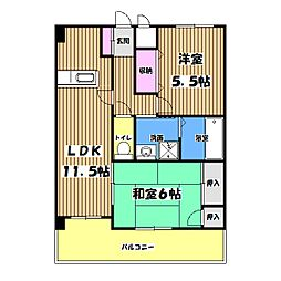 東京都府中市西府町2丁目の賃貸マンションの間取り