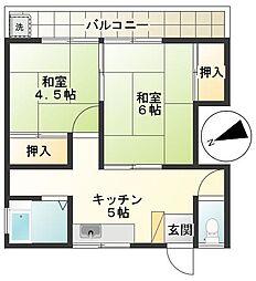 東京都調布市多摩川3丁目の賃貸アパートの間取り