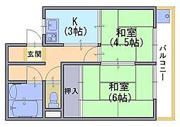 千鶴荘[301号室]の間取り