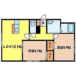 北海道札幌市北区北三十三条西2丁目の賃貸マンションの間取り