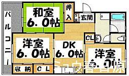 福岡県大野城市川久保1丁目の賃貸マンションの間取り