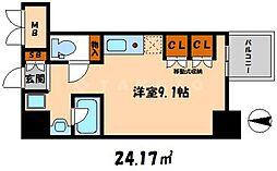 エスティライフ大阪都島 7階ワンルームの間取り