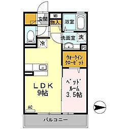 神奈川県大和市桜森1丁目の賃貸アパートの間取り