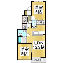 JR飯田線 飯田駅 バス25分 三日市場北下車 徒歩6分の賃貸アパート 1階2LDKの間取り