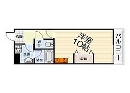 JR阪和線 鳳駅 徒歩4分の賃貸マンション 3階1Kの間取り
