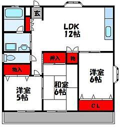 ロジュマン古賀II 2階3LDKの間取り