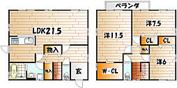 [一戸建] 福岡県北九州市小倉南区貫弥生が丘1丁目 の賃貸【/】の間取り
