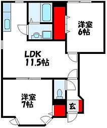 福岡県遠賀郡水巻町二東2丁目の賃貸アパートの間取り