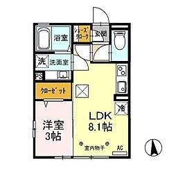 JR上越線 高崎問屋町駅 徒歩22分の賃貸アパート 1階1LDKの間取り