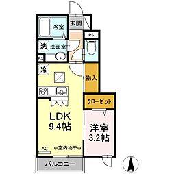 JR中央本線 吉祥寺駅 バス24分 中原三丁目下車 徒歩3分の賃貸アパート 1階1LDKの間取り