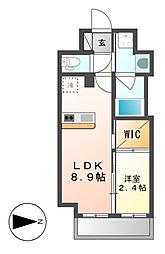 ハーモニーレジデンス名古屋新栄[4階]の間取り