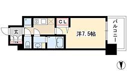 プレサンスジェネ葵 5階1Kの間取り