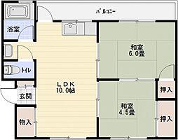 大原テラスハウス[1階]の間取り