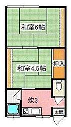 大阪府枚方市養父西町の賃貸アパートの間取り