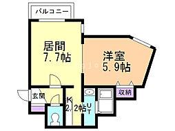 コーポげんじ菊水 4階1LDKの間取り