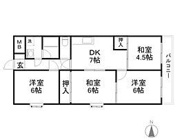 京阪本線 土居駅 徒歩4分の賃貸マンション 8階4DKの間取り