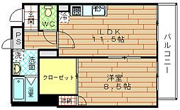 大阪府大阪市港区波除2丁目の賃貸マンションの間取り