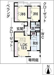 辻町住宅1街区3棟106号室[1階]の間取り