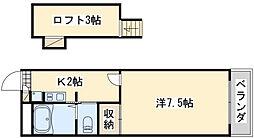 レオパレスWING[1階]の間取り