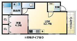 大阪府八尾市跡部本町3丁目の賃貸アパートの間取り