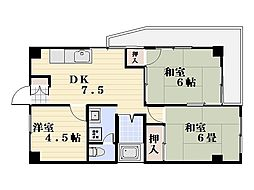 吉田屋マンション[201号室]の間取り