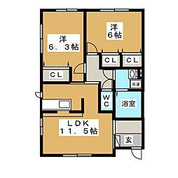 パーシモンコート B棟[1階]の間取り