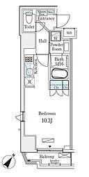 都営新宿線 岩本町駅 徒歩6分の賃貸マンション 2階ワンルームの間取り