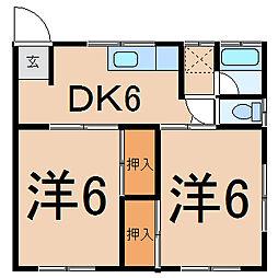 メゾン高橋I 1階2DKの間取り