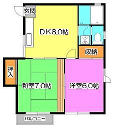東京都東久留米市大門町1丁目の賃貸アパートの間取り