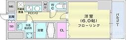 仙台市営南北線 北四番丁駅 徒歩4分の賃貸マンション 6階1Kの間取り