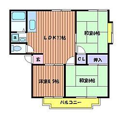 東京都立川市錦町5丁目の賃貸アパートの間取り