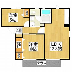 大阪府堺市東区野尻町の賃貸アパートの間取り