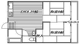 レジデンス西田B棟[1階]の間取り