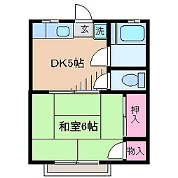 神奈川県横浜市港北区下田町5丁目の賃貸アパートの間取り