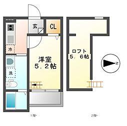 愛知県名古屋市中村区白子町1丁目の賃貸アパートの間取り