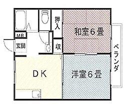 ホワイトハイツA[203号室]の間取り