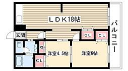 愛知県名古屋市名東区平和が丘5の賃貸マンションの間取り