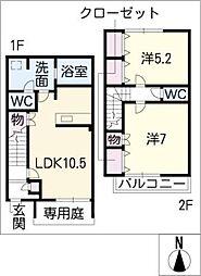 [タウンハウス] 愛知県春日井市美濃町3丁目 の賃貸【/】の間取り
