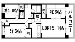 兵庫県宝塚市旭町1丁目の賃貸マンションの間取り