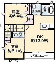 グランマスト論田[2階]の間取り