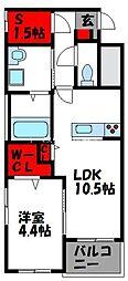 JR香椎線 酒殿駅 徒歩36分の賃貸マンション 1階1SLDKの間取り