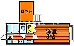 岡山県岡山市中区さい丁目なしの賃貸アパートの間取り