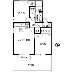 エスポワールシーマA棟[A102号室号室]の間取り