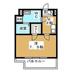 CREVISTA蒲田II 4階1Kの間取り